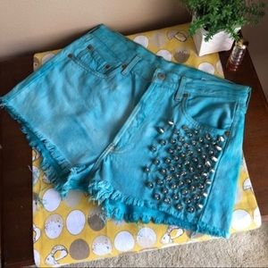 RP 4 LF Reworked 501 studded teal Levi shorts